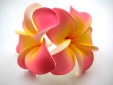 Hawaiian Bridal Wedding Party Foam 2-Flower Hair Clip Pink w/ Yellow Plumeria