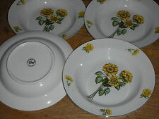 4 ASSIETTE à soupe CREUSE fleur de TOURNESOL porcelaine de chine SIMEX sunflower