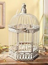 Rustic White Metal Decorative BIRD CAGE w/Hinged Door Lid Candle Centerpiece