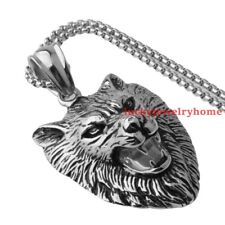 Men's Cool Stainless Steel Silver Jewelry Large Wolf Head Pendant Necklace Chain