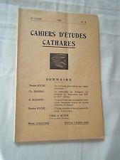 CAHIERS D ETUDES CATHARES N° 18 (1954) CATHARISME / ALBIGEOIS