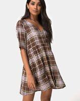 MOTEL ROCKS  Verren Babydoll Dress in Tartan Brown Small S  (MR22)