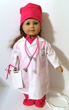 American Girl Doll Clothes, Dr Lab Coat, Hot Pink Scrubs & Stethoscope Clipboard