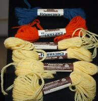 Vtg Brunsana Yarn Lot 100% Wool Yellow Blue Orange 6 Skeins  --FFX=