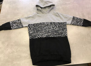 NEXT Girls Age 10 Years Grey Animal Print Hoodie Dress - Excellent Condition