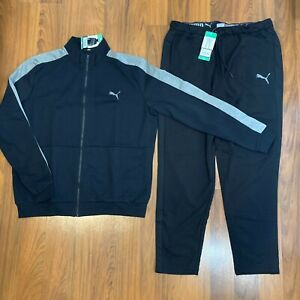 Puma Men's Jacket Pants 2pc Set Size M, L, XL, XXL Tracksuit Black New