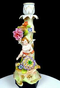 """ARDALT JAPAN LEHWILE CHINA BISQUE CUPID & FLOWERS 10 7/8"""" CANDLESTICK 1945-1952"""