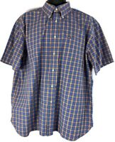 Tommy Hilfiger Men's XL Short Sleeve Plaid Blue Orange Button Down Shirt Used