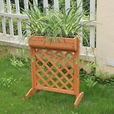 Outdoor Garden Fir Wood Raised Bed Planter Stand Flower Yard Landscape Box New