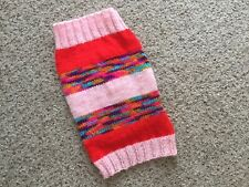"""Hand Knitted Dog Jumper Coat. Small/medium Size Dog. 13"""". Reds, Pinks"""