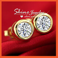 18K YELLOW GOLD GF SIMULATED DIAMOND 1.5 CARAT Round STUD EARRING MEN LADY GIFT