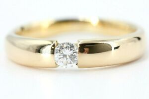 0,27 ct. Diamant Ring 750 Gelbgold 18 K Solitär Brillant Ring VS1 H Größe 61