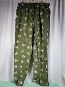 Life is Good Pants Men' Large Clover Leaves Sleep Lounge Cotton Pockets Green