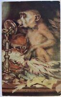 Monkey Talking On Vintage Telephone 1907 Posted Godley Texas TX Antique Card