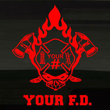 "Fire Dept or Volunteer Skull Flame Firefighter Fireman 13"" Decal Sticker CUSTOM!"
