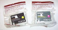 2 x Epson genuine inkjet cartridges T0613 magenta, T0614 yellow
