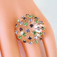 Clear Acrylic Domed Ring MultiColored Extended Swarovski Element Crystal Dome 8½