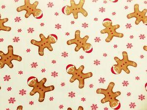 Telas de policotton Material Tela Artesanal Navidad Festivo pan de jengibre blanco