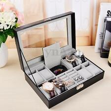 11 Slots Leather Watch Box Jewelry Ring Display Case Storage Organizer Cute Gift
