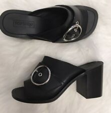 Topshop Black Leather Mules Buckle Heels 90s Sold Out Size 4 £52