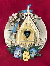 """Bradford Exchange door plate """"Nesting Neighbors"""" bluebird/pansies/fancy cottage"""