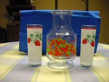 Strawberry Shortcake Decanter with 2 Frosted Glasses