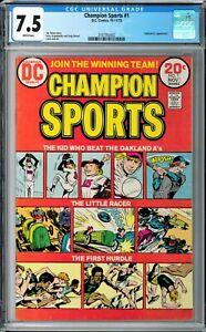 Champion Sports #1 CGC 7.5 (Oct-Nov 1973, DC) Joe Simon story, Oakland A's app.