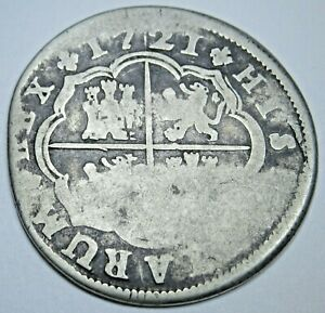 1721 Spanish Silver 2 Reales Antique 1700s Colonial Cross Pirate Treasure Coin