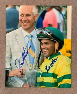 TODD PLETCHER & JAVIER CASTELLANO DUEL SIGNED 8x10 PORTRAIT PHOTO HORSE JOCKEY