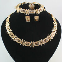 Fashion Women 18K Gold Plated Crystal Totem Necklace Wedding Party Jewelry Set