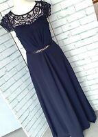 MONSOON Morgane Midnight Blue Evening Dress Sz 10 Bridesmaid Prom Maxi Long b27