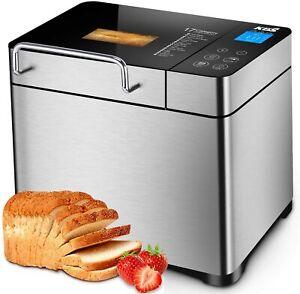KBS Stainless Steel 17-in-1 Programmable Bread Maker Machine 1500W 2LB Non Stick