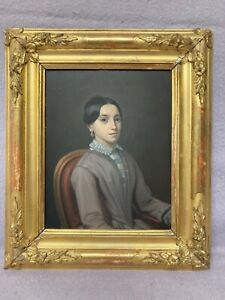 Antique French Portrait. Of seated young lady. In beautiful gilt frame 19th/c