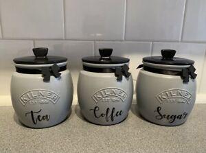 Hand painted Kilner tea, coffee and sugar jars - grey jars with black lids