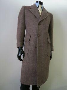 VTG Hickey Freeman Customized British Fabric tweed top coat Size 38 R