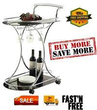 Furniture Glass Top 3 Bottle Bar and Serving Cart unique curved design Silver