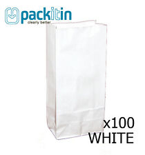WHITE paper flat bottom small GIFT BAGS x 100 - perfect for party lolly bags NEW