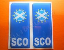2x3D Sticker Resin Domed Euro SCOTLAND Number Plate with Flag Car Badge Adhesive