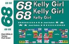 #68 Janet Guthrie 1976 Chevrolet 1/64th HO Scale Slot Car Decals