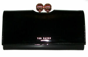 TED BAKER Bobble Matinee Black Patent  Leather Bifold Clutch Wallet NWT