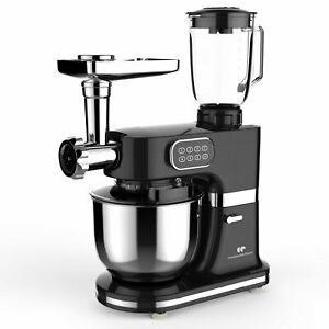 Robot Pâtissier Multifonction Cuisine 6 Vitesses Hachoir Mixer Bol Inox 5L 1000W