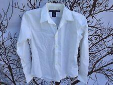Ralph Lauren Sport Women Size SMALL Slim Fit Cotton White Button Dress Shirt