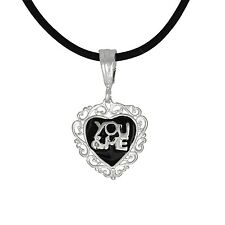 Sterling Silver .925 Heart Shape You & Me Pendant Necklace | Made in USA