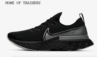 Nike React Infinity Run Flyknit Black Metallic Silver Men's Trainers All Sizes