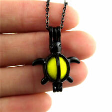 "H200 Black Color Stainless Necklace 18"" - Alloy 26mm Sea Turtle Beads Cage"
