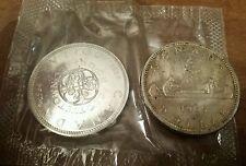 1965 Queen Elizabeth & 1964 $1 Confederation Canada Silver Dollar .800