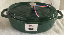 Staub ~ Cast Iron 4-qt ~ Oval Wide ~ Cocotte ~ Emerald ~ NEW!