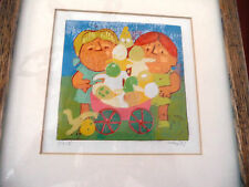 AL ROBI ORIGINAL SIGNED & NUMBERED  LINOCUT, MATTED AND FRAMED