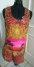 VERSACE x H&M Pailletten Kleid Gr. 42 Gold Leo Animalprint Orange Barock LIMITED