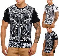 Uomo T-Shirt Camicia Polo Manica Corta Teschio Printshirt 3265 John Kayna